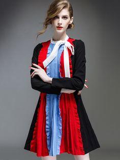 Shop Black Round Neck Tie Long Sleeve Dress