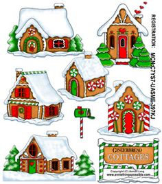 Gingerbread Cottages Cutouts