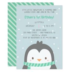 Cute Penguin and Scarf Birthday Party Invitations - birthday diy gift present custom ideas