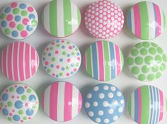 """Hand Painted Children's Knobs- Pink, Blue, Lime Green Polka Dots and Stripes Combination Knobs 1 1/2"""" Wooden Drawer Knobs- SET OF 12"""