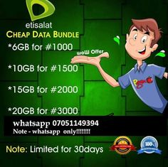 How To Get 6GB With N1000 and 10GB With N1500 On Etisalat