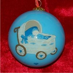 Baby Boy Buggy - Personalized First Christmas Ornament