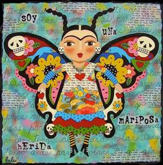 Frida Kahlo Butterfly Art Print by LuLu Mypinkturtle. All prints are professionally printed, packaged, and shipped within 3 - 4 business days. Choose from multiple sizes and hundreds of frame and mat options. Butterfly Painting, Butterfly Art, Butterflies, Diego Rivera, Karla Gerard, Frida And Diego, Frida Art, Mexican Folk Art, Illustrations