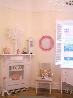 girls shabby chic french bedroom vintage pastel pink pram shutters fireplace baby