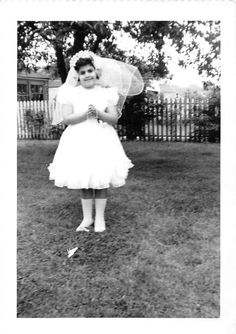 Photograph Snapshot Vintage Black and White Girl Bride Dress Yard 1950'S | eBay