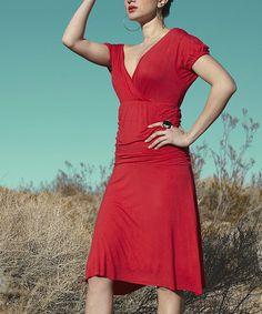 Red Ballerina Surplice Dress #zulily #zulilyfinds