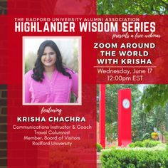 """""""Zoom Around the World"""" with travel columnist and Radford University Board of Visitors member, Krisha Chachra who writes and resides in Charlotte, NC. After visiting over 50 countries on six continents, Krisha will share insights and personal travel stories from her adventures in Greece, Turkey, Dubai, and India. Learn tips on traveling abroad and how to craft your perfect travel story! Radford University, Columnist, Charlotte Nc, Travel Abroad, Continents, Countries, Dubai, Insight, Greece"""