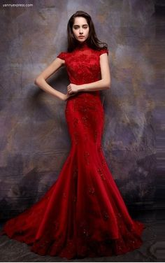 Chinese Wedding Lace Gown - YannyExpress - 1 Wedding Party Dresses 55ea8164208b
