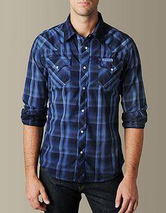 True Religion Brand Jeans, TRUE-7468 MENS PHOENIX LOGO LONG SLEEVE WESTERN SHIRT - (Midnight Blue), truereligionbrandjeans.com