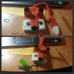 I stayed up waaaayyyyy too lateworking on this guy, but I just couldn't stop!  The original pattern was written on Danish (which I do not speak) and I figured him out through the help of the internet and trial and error. I love him, and now my keys won't get lost in the bottom of my purse! #crochet #crochetaccessories #key #cozy #cute #adorable #yarn #fox #redfox #whatdoesafoxsay #critter #woodland #handmade #danish #translate #tcakescrochet