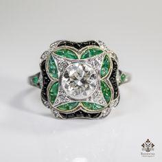 Antique Art Deco Platinum 1.27CTW. Diamond - Emerald & Onyx Ring (hva)