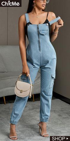 Trend Fashion, Denim Fashion, Fashion Outfits, Women's Fashion, Wrap Jumpsuit, Printed Jumpsuit, Suspender Jeans, Long Pants, Clubwear