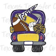 LSU football truck sublimation transfer purple and gold, cotton tshirt transfer, ready to press tran Lsu Tigers Football, Football Gear, Dallas C, Tractor Crafts, Football Door Hangers, Louisiana Art, Tiger Paw, Truck Paint, Antique Trucks