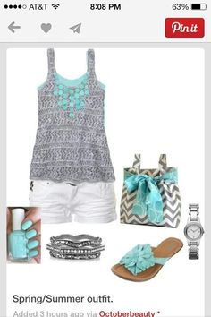 Gray & turquoise outfit!