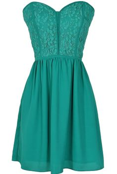 Sweetheart Strapless Dress in Teal www.lilyboutique.com