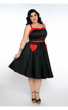 Betsey Swing Dress in Black and Red - Plus Size   Pinup Girl Clothing