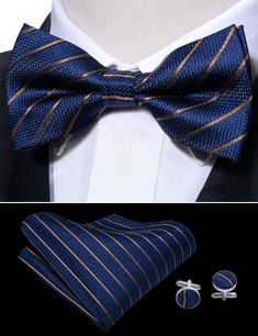 Barry Wang Navy Blue Solid Bow Tie Set Mens Silk Pretied Wedding Gift Bowtie