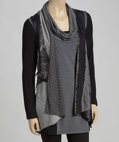 Look what I found on #zulily! Black & Gray Lace Patchwork Cowl Neck Tunic #zulilyfinds