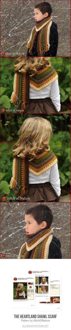 The Heartland Shawl Scarf crochet pattern Crochet Poncho, Crochet Beanie, Crochet Scarves, Knitted Hats, Quick Crochet, Crochet For Kids, Crochet Baby, Crochet Designs, Crochet Patterns
