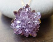 25% Off SALE: Lavender amethyst druzy necklace - Gold Filled