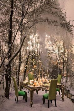 winter feast under the stars dinner setting outdoor spaces My Life in the Countryside
