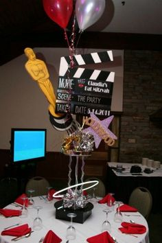 Hollywood Theme Centerpiece | Bar & Bat Mitzvah, Sweet 16, Party Hollywood Birthday Parties, Hollywood Theme, Casino Theme Parties, Party Themes, Themed Parties, Casino Party, Party Ideas, Bar Mitzvah Centerpieces, Party Centerpieces