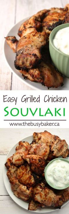 The Busy Baker: Grilled Chicken Souvlaki This Easy Greek Chicken Souvlaki is a delicious grilled chicken that tastes exactly like traditional Greek souvlaki! Grilling Recipes, Cooking Recipes, Healthy Recipes, Greek Chicken Souvlaki, Greek Chicken Skewers, Greek Grilled Chicken, Chicken Kabobs, Chipotle Chicken, Healthy Chicken