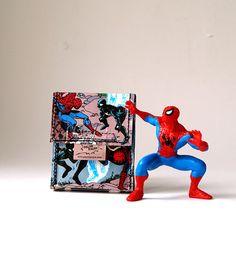 SPIDERMAN cigarette case comic upcycling unique piece by PauwPauw