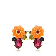 Les Néréides Orange Flower And Crystal Earrings ❤ liked on Polyvore