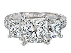 Gordon James Three Stone Diamond Ring featuring Princess Cut Diamonds