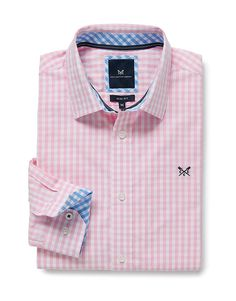 Men's Crew Slim Fit Gingham Shirt in Classic Pink from Crew Clothing