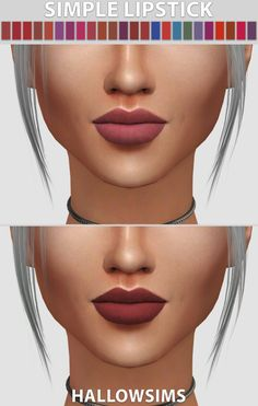 HallowSims-Simple Lipstick- Comes in 24 colors - Natural colors and Unnaturals - Smooth texture Download Simple lipstick-Lyla CC used from @theslyd.
