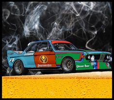 BMW racing : the b stands for booze! Booze n cigges racing ! #bmw#bmwe9 #Bmwcsl #bmwracecar#bmwracing #jagermeister #vintageracing #automotiveart