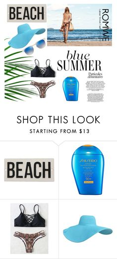 """""""Summer Vibes"""" by merssy ❤ liked on Polyvore featuring HomArt, Shiseido and Ray-Ban"""