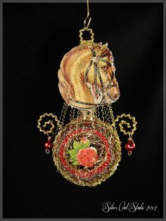 Victorian Christmas Ornament - Red Horse || Christmas ornament, Victorian ornament, handmade, vintage, antique, scrap, feather tree, red by SilverOwlStudio on Etsy