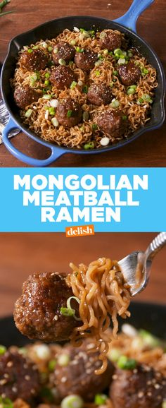 Ramen Mongolian Meatball Ramen is the sexier version of instant noodles. Get the recipe at .Mongolian Meatball Ramen is the sexier version of instant noodles. Get the recipe at . Meatball Recipes, Beef Recipes, Cooking Recipes, Beef Ramen Noodle Recipes, Recipies, Top Ramen Recipes, Ramen Food, Cooking Box, Snacks Recipes