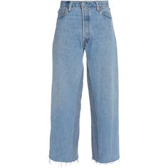 RE/DONE by LEVI'S   Straight Leg (665 PEN) ❤ liked on Polyvore featuring jeans, pants, bottoms, high waisted jeans, high rise jeans, blue denim jeans, frayed hem jeans and high-waisted jeans