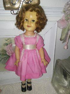 RARE shirley Temple doll flirty eyes 17 in original wig original outfit hard plastic body vinyl head original styled rooted hair by karensshabby2chic on Etsy