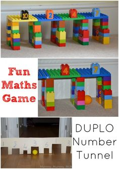 Fun with adding up and numbers. Easy Pre school Math games. Make a cardboard or DUPLO tunnel.