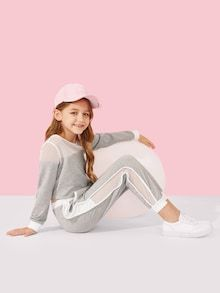 Product name: Girls Contrast Mesh Top & Tape Side Pants Set at SHEIN, Category: Girls Two-piece Outfits Cute Girl Outfits, Kids Outfits Girls, Casual Outfits, Girls Cuts, Tween Fashion, Two Piece Outfit, Girls Shopping, Cute Girls, Ideias Fashion