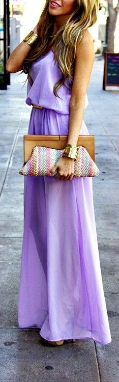 love the all over lilac color with brown/gold accessories for spring/summer. not typically one for maxi dresses but I wish I had a place to wear this one!