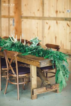 Christmas Winter barn wedding.  Antlers by Rent My Dust.  We love all the lovely winter touches they used for their special day.  From vintage lounge areas with plaid to antlers and greenery to lawn games.  Photos by Trisha Kay Photography  by rentmydust.com