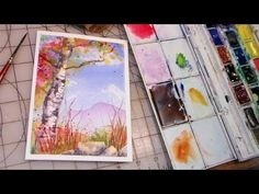 blue skies and birch tree - YouTube She uses a cut-up credit card to add texture in the tree & rocks!  thefrugalcrafter