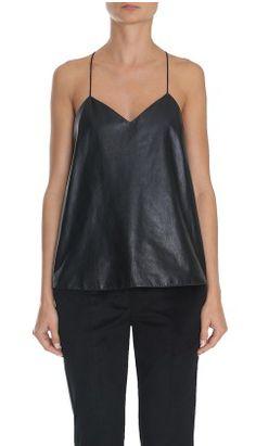 tibi leather and silk cami