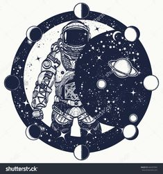 Astronaut in space tattoo. Cosmonaut in universe, solar eclipse t-shirt design. Spaceman tattoo art. Symbol of science, astronomy, education