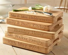Show who's the 'Masterchef' in your house with this personalised bamboo chopping board. This professional-quality board is made of pressed bamboo Date Night Recipes, Wooden Chopping Boards, Company Gifts, Unique Presents, Beautiful Gifts, New Home Gifts, Wedding Gifts, Bamboo, The Originals