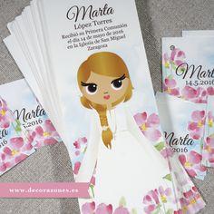 Marca páginas y etiquetas ilustradas con flores de acuarela. www.decorazones.es…