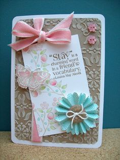 Stamps: Bordering on Romance, Tea Shoppe, All a Flutter  Ink: Crumb Cake, Blushing Bride, Soft Suede, Pool Party, Pear Pizzazz, Riding Hood Red, Whisper White  Paper: Crumb Cake, Whisper White, Attic Boutique dsp  Tools: Scallop circle punch, Vintage Wallpaper embossing folder, corner rounder punch,  Accessories: Crumb Cake button, Baker's twine, Twitterpated buttons, Blushing Bride ribbon
