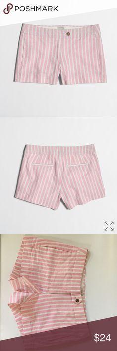 "J. Crew linen striped shorts! NWOT. J. Crew linen-cotton striped shorts. Size 6. 55% cotton 45% linen. 3"" inseam. Smoke free clean home. Any questions lmk! J. Crew Shorts"