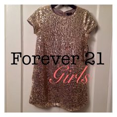 F21 GIRLS Gold Sequin Shift Dress, Large 11/12 Gold, fully sequined, fully lined (satin soft liner,) back zipper. Timeless and pretty! I wish it were my size!! Forever 21 Dresses